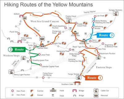 Hiking routes mt huangshan