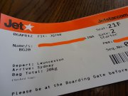 My Boarding pass, flight to Sydney.