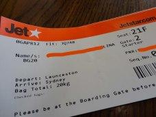 My Boarding pass, flight to Sydney.