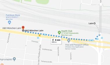 A&O München Laim walking map