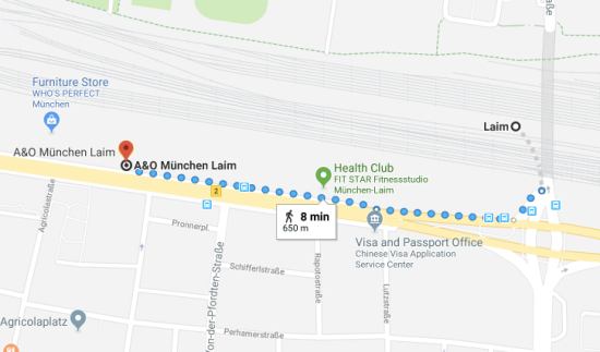 A&O München Laim walking map