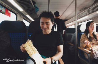 quick breaky in the train.