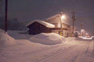 walking at night in heavy snow.