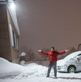 Heavy snow in front of guesthouse