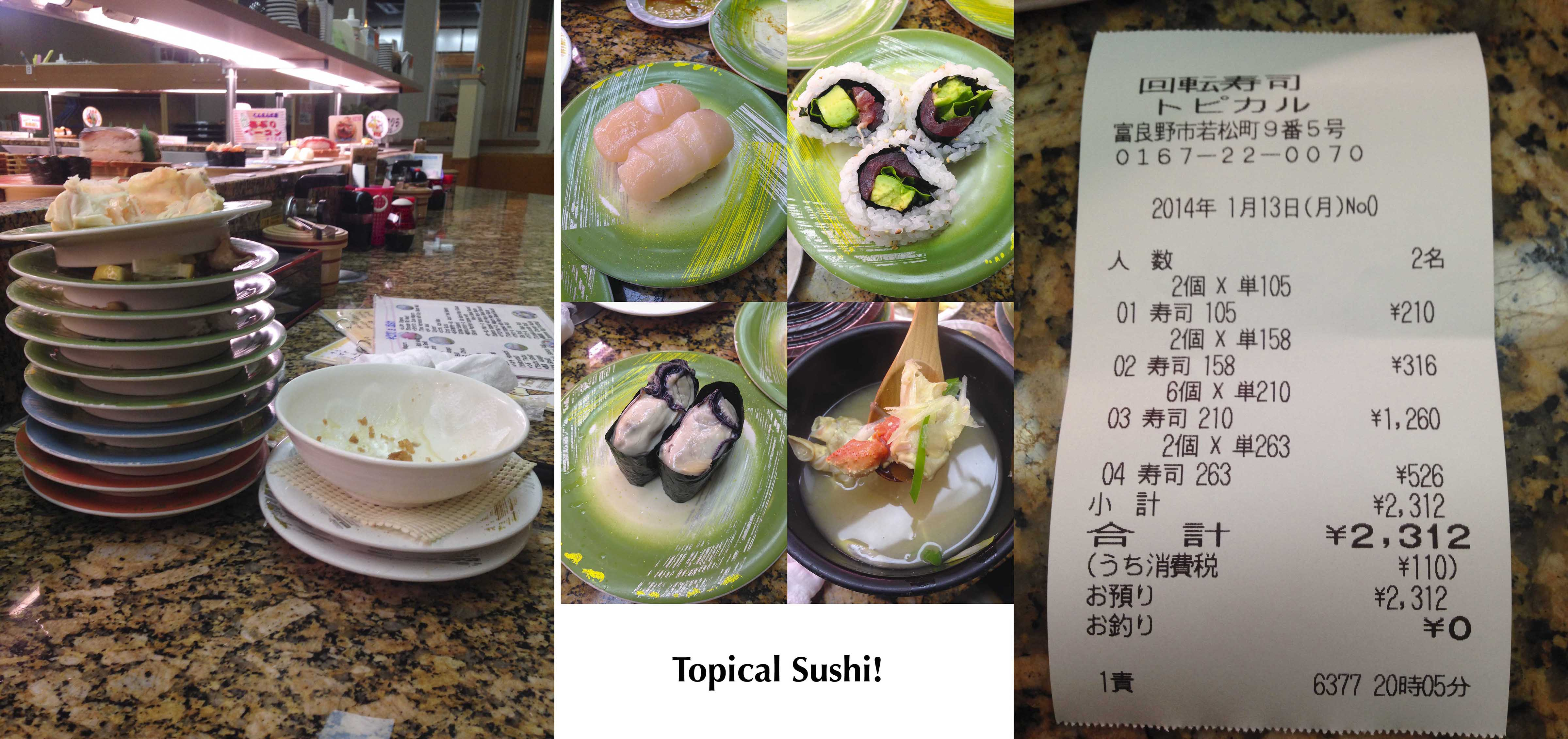 Topical Sushi's menu
