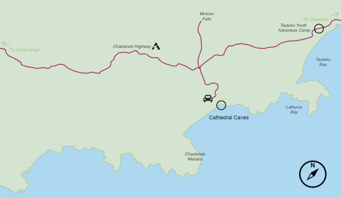 Cathedral Caves location map